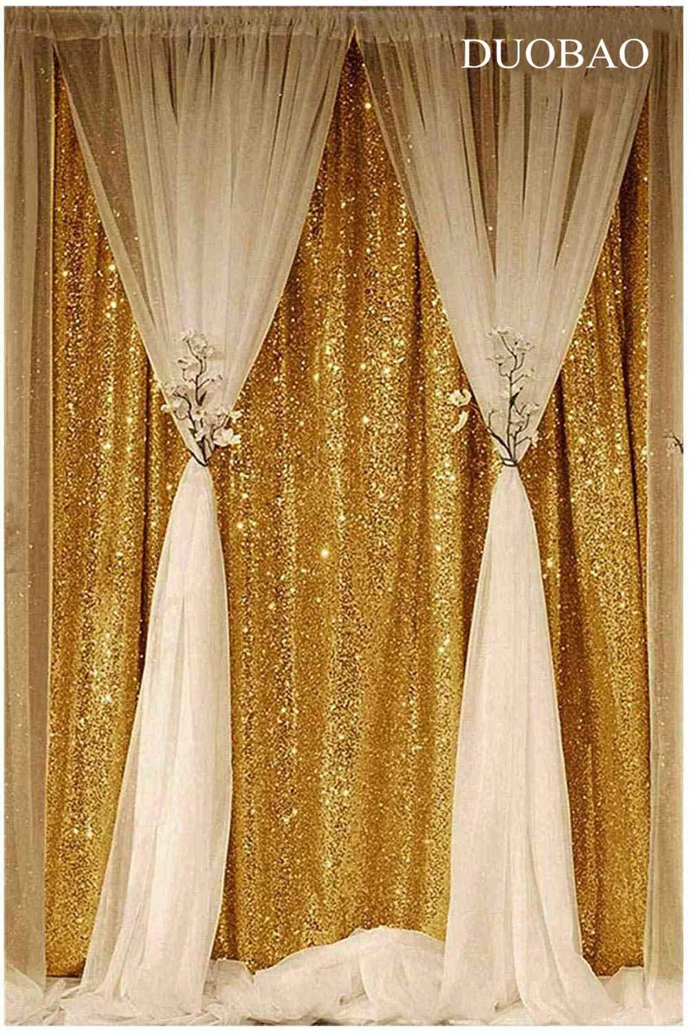 DUOBAO Sequin Backdrop Curtain 4FTx6FT Gold Glitter Background Gold Sequin Photo Backdrop Prom Party Decor~0613 by DUOBAO