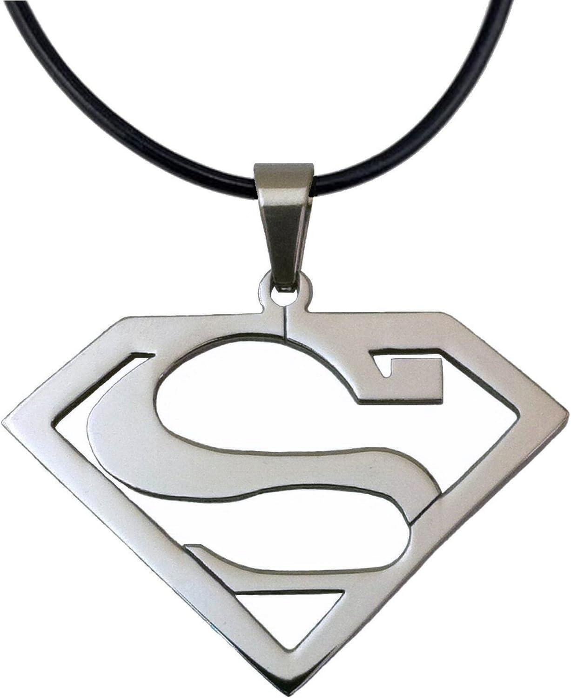 Stainless Steel Superhero Superman Pendant Necklace