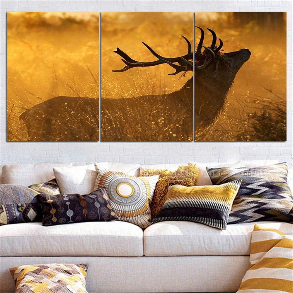 Huibathroom 3 Mural Lienzo Sala de Estar Cuadros Pintura al óleo Animal Silueta de Ciervo Arte de la Pared HD Imprimir Pintura Moderna Arte de la Pared Cartel Modular-A Frameless_50cm * 70cm * 3pcs