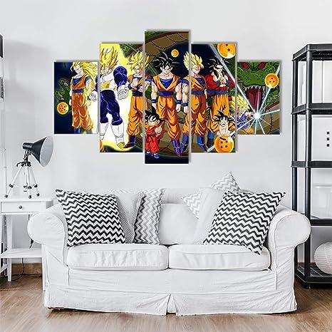Amazon Com Himfl 5pcs Painting Wall Art Canvas Print Cartoon Dragon