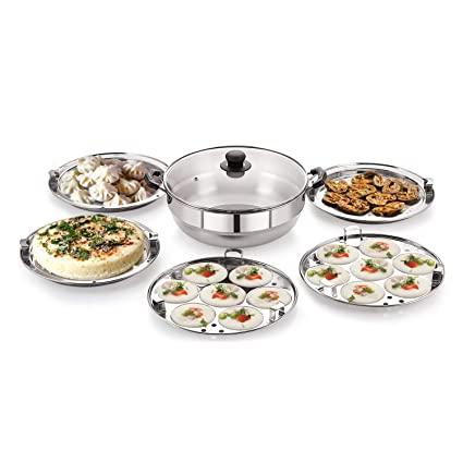 BMS Lifestyle Big 5-in-1 Induction Friendly Stainless Steel Multi Kadhai for Cooking idli,�