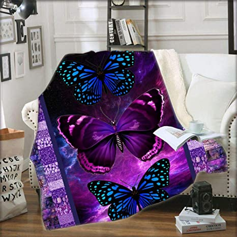 3D Butterfly Throw Blanket Soft Flannel Blanket Butterfly Women Blanket for Bed
