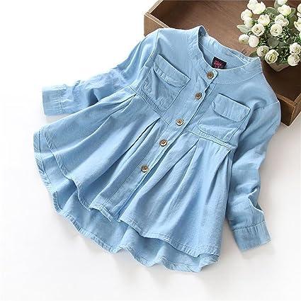 Gugutogo Camisa de mezclilla con cuello alto para niñas Blusa Camisa de manga larga con borde