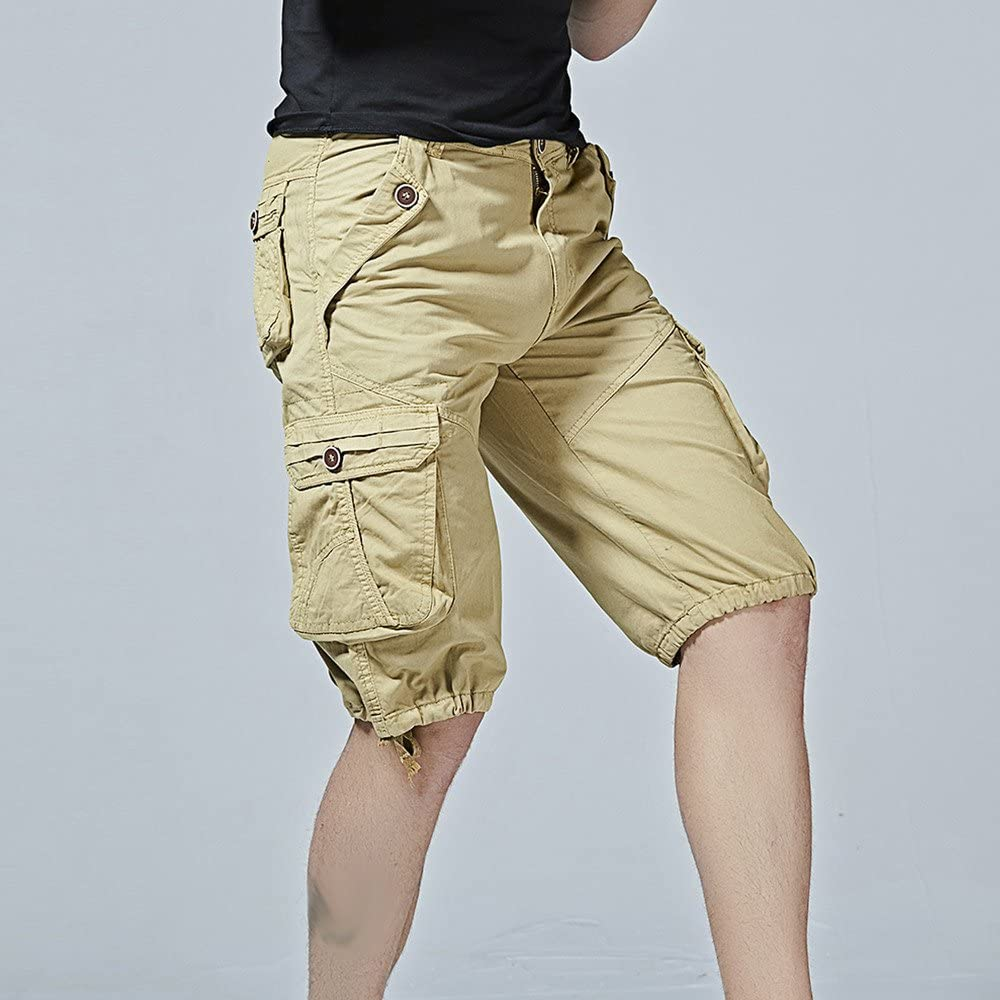 DIOMOR Mens Plus Size Casual Multiple Pockets Straight Cargo Shorts Button Slim Fit Outdoor Teen Climbing Hiking Pants