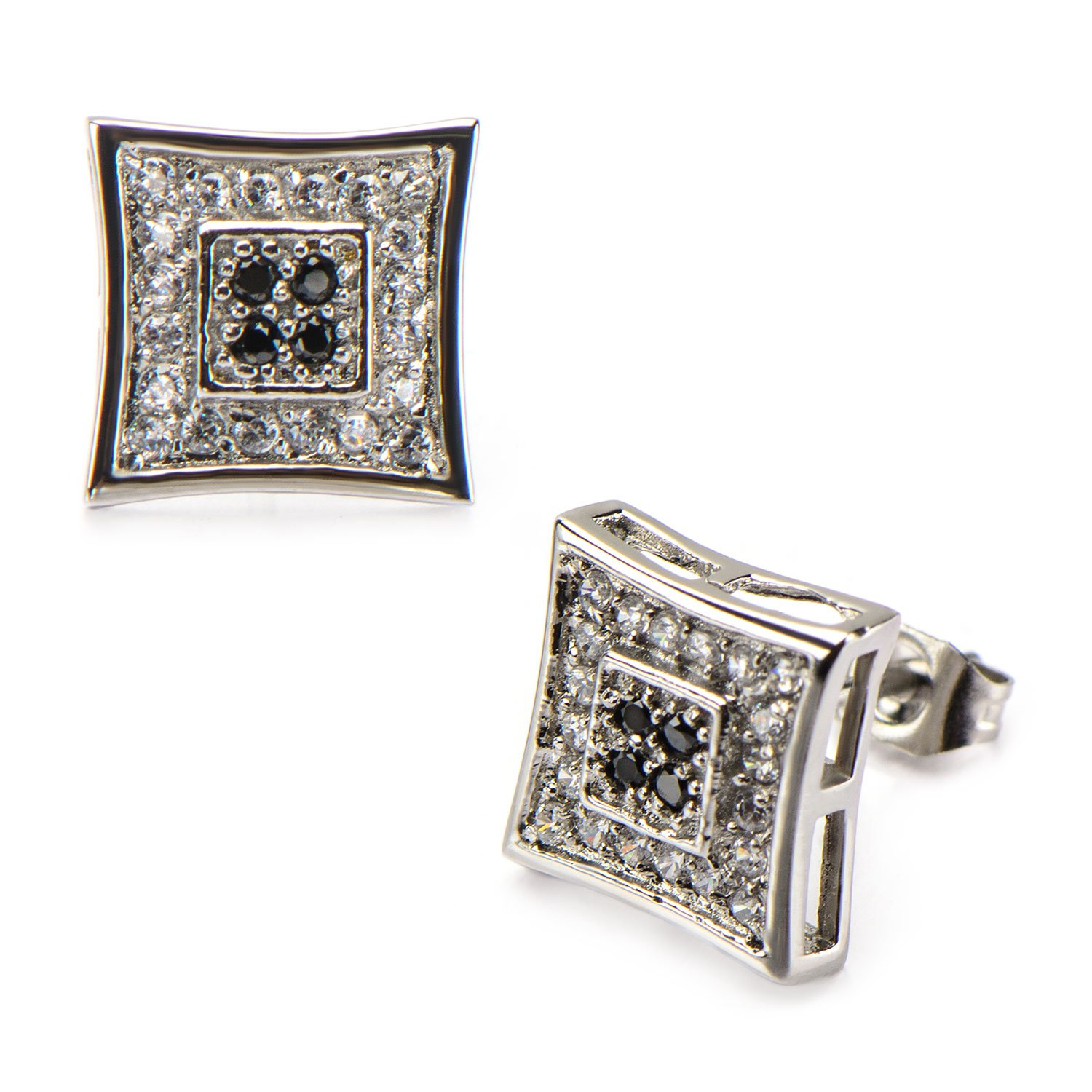 Stainless Steel With Clear And Black CZ Stones In Pave Set Square Kite Hip Hop Studs Earrings