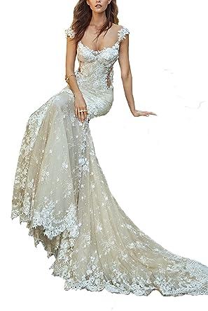 Kelaixiang Lace Bridal Gowns Wedding Dress Mermaid Train Backless ...