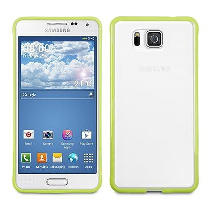 kwmobile Funda para Samsung Galaxy Alpha - Carcasa de [plástico] para móvil - Protector [Trasero] en [Verde/Transparente]