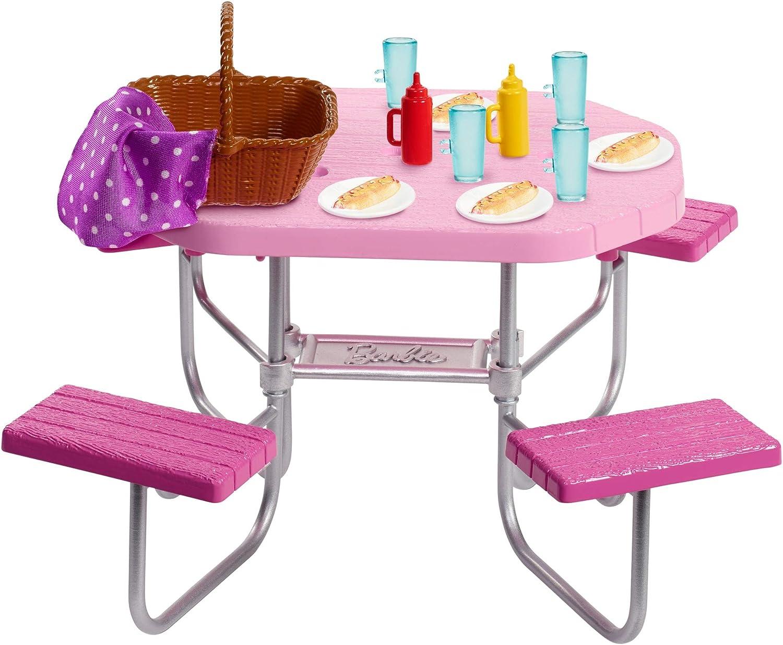 Amazon.es: Barbie Muebles de Exterior para la Casa de Muñecas, Accesorios y Mesa de Picnic (Mattel FXG40), color/modelo surtido: Juguetes y juegos