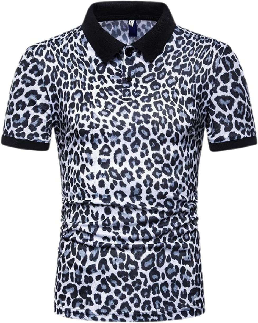 YY-qianqian Mens Leopard Print Fashion Button Down Shirts Short-Sleeve Shirt