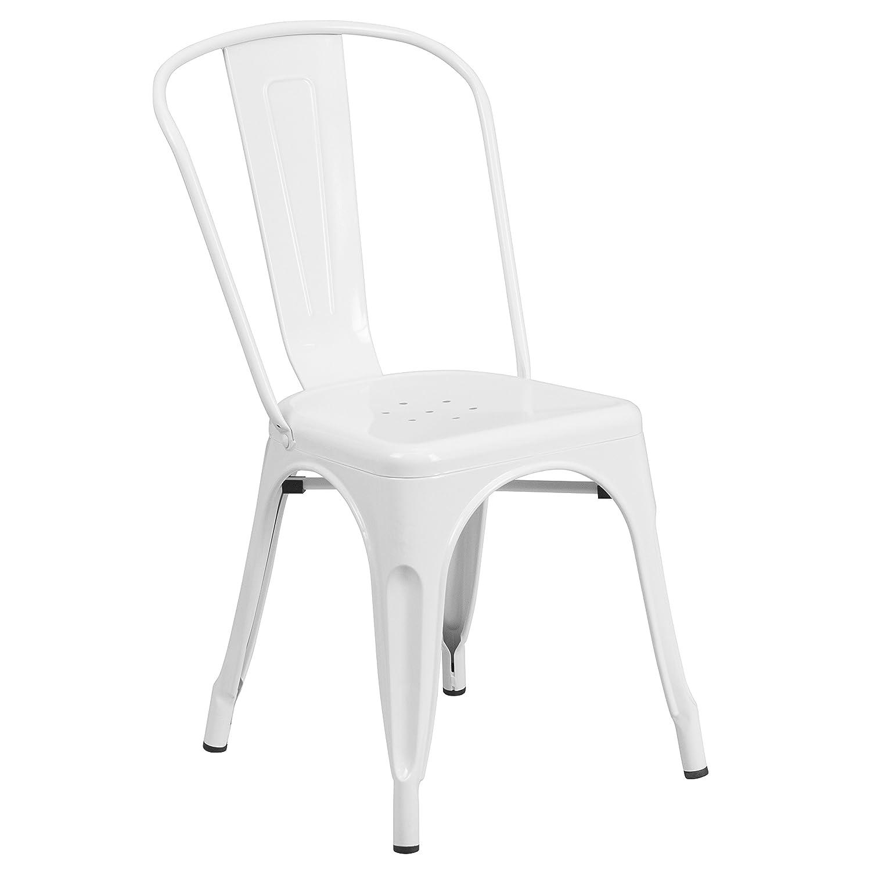 Flash Furniture White Metal Indoor-Outdoor Stackable Chair
