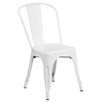 Flash Furniture White Metal Indoor Outdoor Stackable Chair