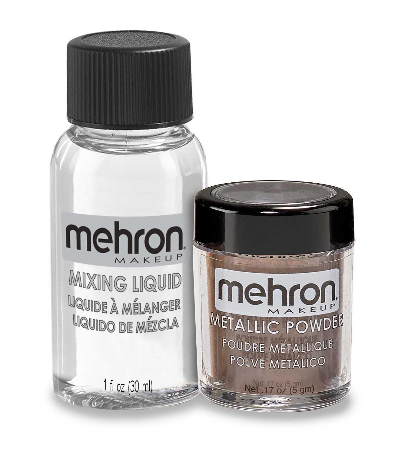 Mehron Makeup Metallic Powder (.17 oz) with Mixing Liquid (1 oz) (ROSE GOLD)