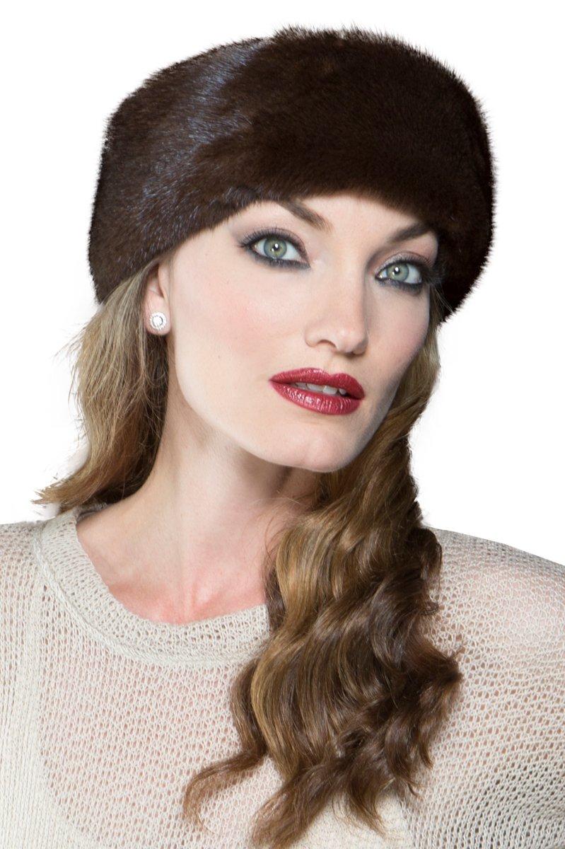 EM-EL Women's Mahogany Mink Fur Headband