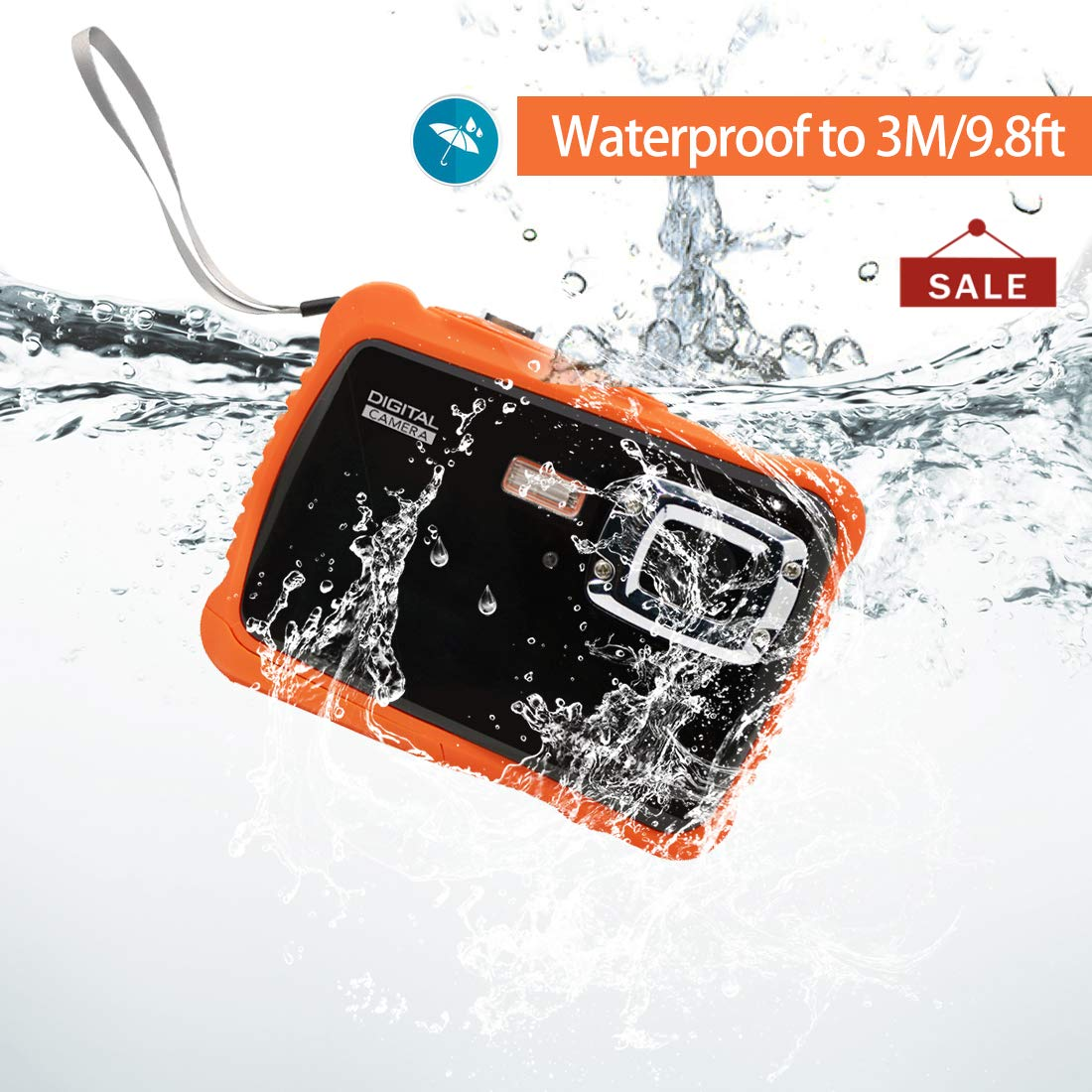 Underwater Action Digital Camera Camcorder for Kids, waterproof 3M/9.8ft, 5 MP CMOS 12MP 1080p, Orange