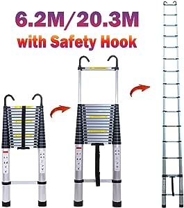 Escalera telescópica de aluminio para techo de altillo, 6,5 m, capacidad máxima 330 libras, estándar de seguridad EN131: Amazon.es: Bricolaje y herramientas