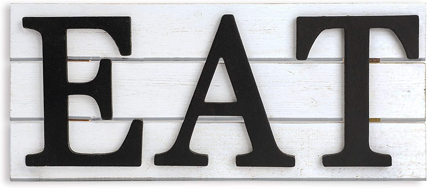 Karisky Eat Signs 16 x 7 inches Rustic Real Wood Plaque Wall Art for Kitchen, Dining Room, Home Farmhouse Decor White and Gray