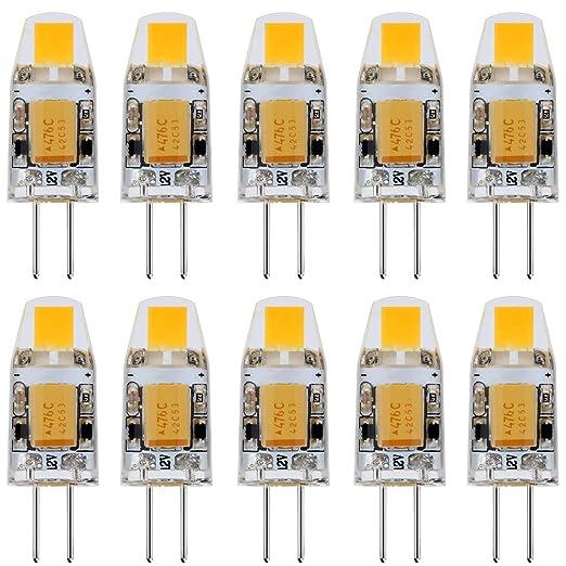 JAUHOFOGEI 10x 1W Mini Bombilla lámpara LED COB G4 - 12V AC / DC, Equivalente a 10W Halógena ...