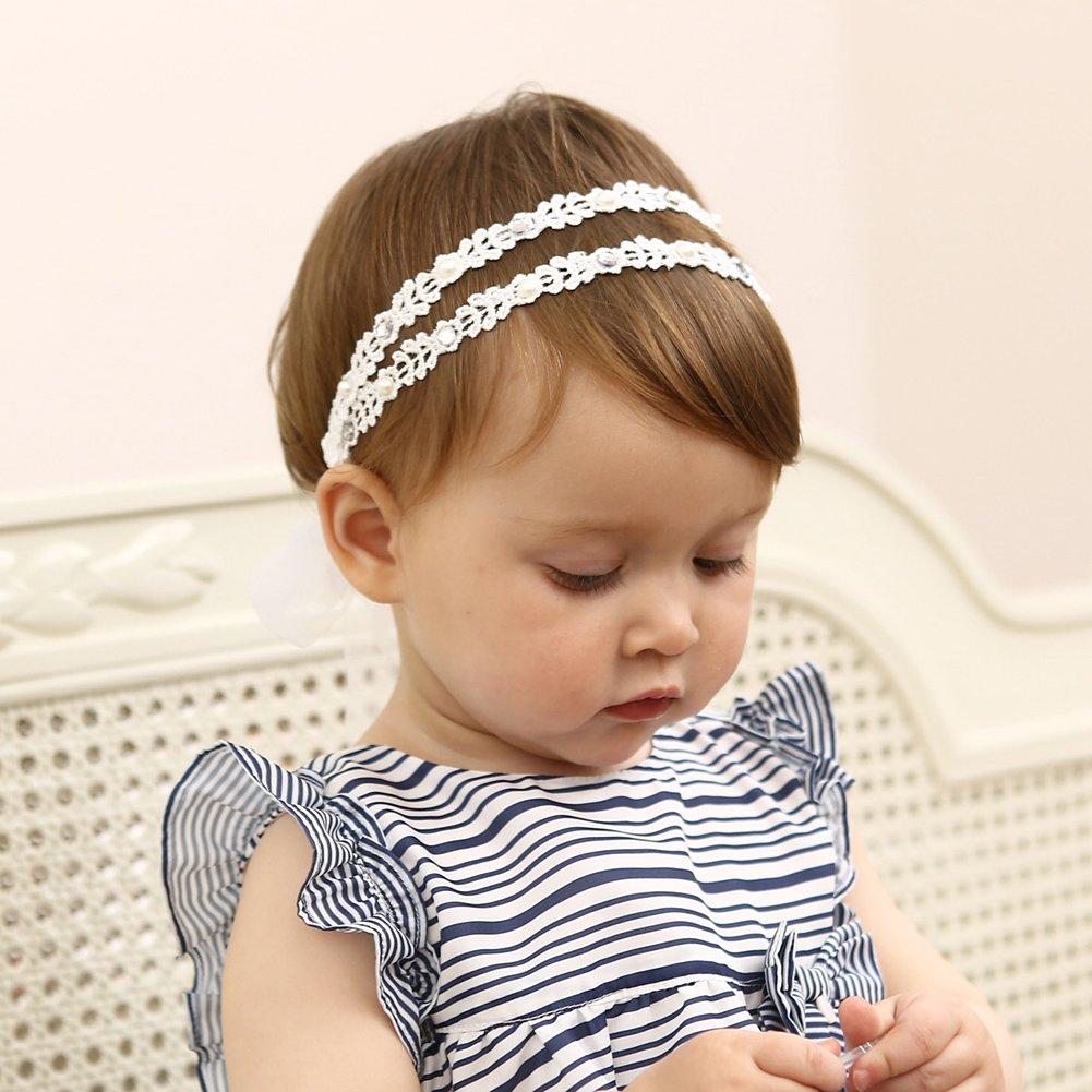 33ff34a4d48a Amazon.com  DANMY Baby Girl Rhinestone Crown Headbands Toddler Princess  Headband Hair Accessories (White)  Clothing