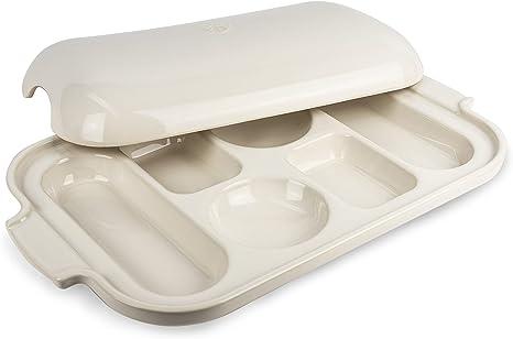 Pour mini-pains et mini-baguettes Peugeot Appolia Plaque boulang/ère pour 6 mini-pains Dimensions : 37,5 x 22,7 cm Couleur : /Écru Mati/ère : C/éramique Avec anses et couvercle 60459
