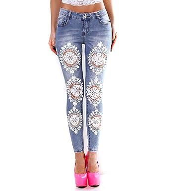 Fashion Damen Jeans mit Häkel Spitze Perlen Strass Stickerei