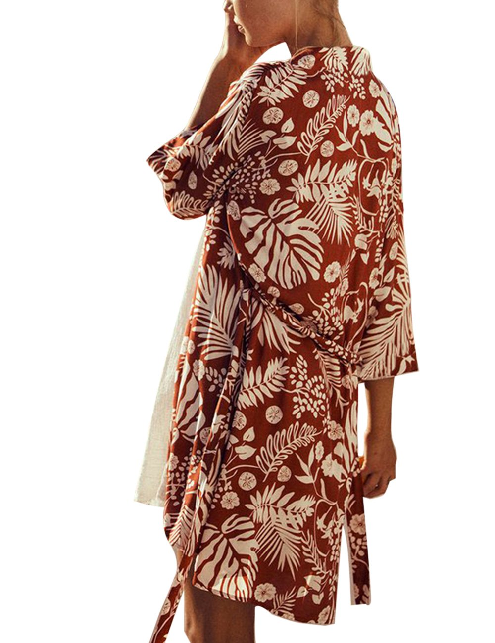 shermie Women's Floral Leaf Print Kimono Cardigan Cover up Swimwear with Belt Rust Red by shermie (Image #3)