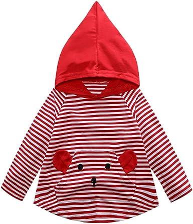 Yannerr Bebé niño niña dibujos rayas camiseta tops sudadera con capucha Recién nacido inferior manga larga blusa suéter chaqueta camisa vestido mono partes de arriba Pijamas traje ropa (5Años, Rojo): Amazon.es: Ropa