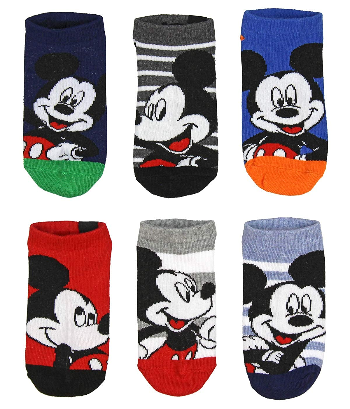 Disney Mickey Mouse Little Boys 5 Pair Childrens Kids Ankle No Show Socks 6-8
