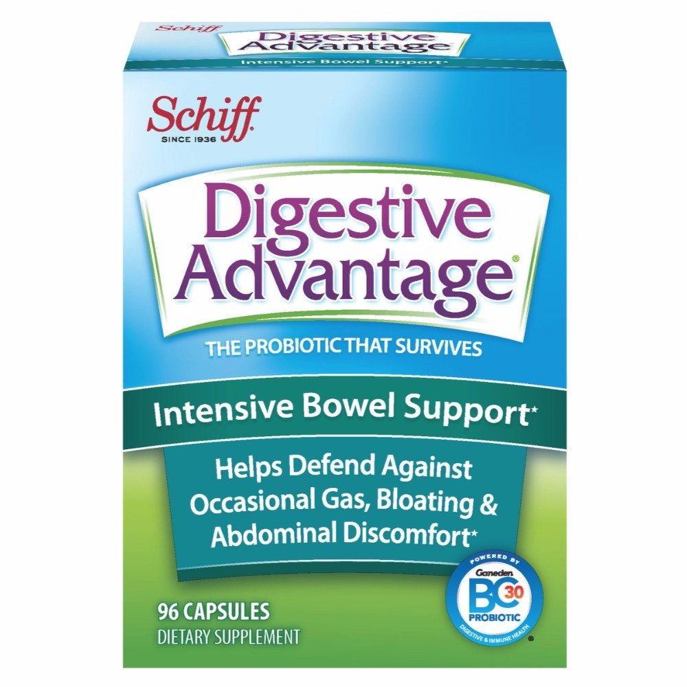 Intensive Bowel Support Probiotic Supplement - Digestive Advantage 96 Capsules, defends against gas, bloating, abdominal discomfort, Survives 100x Better than regular 50 billion CFU by Digestive Advantage