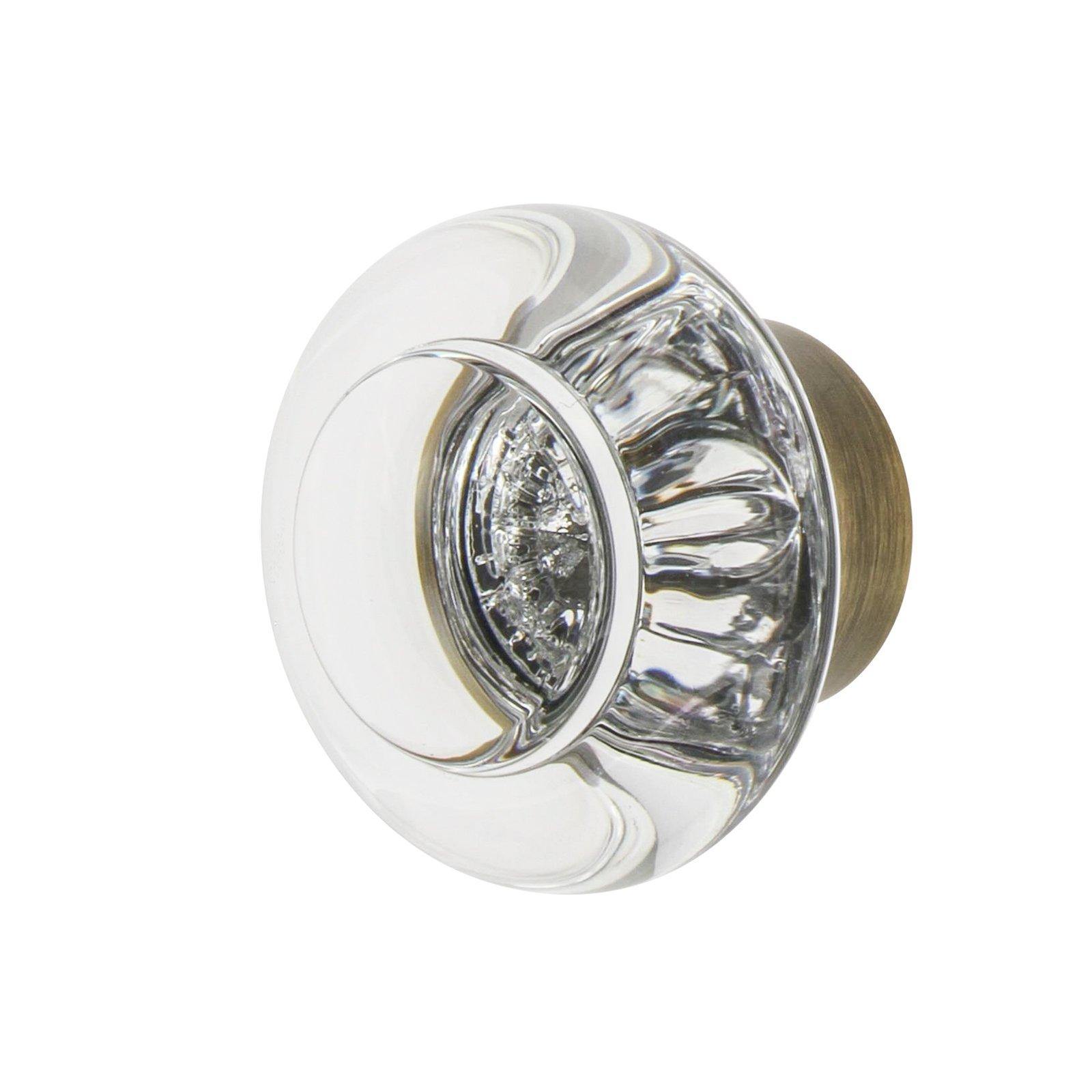 Nostalgic Warehouse 750001 Round Clear Crystal Cabinet Knob, 1-3/8'', Antique Brass
