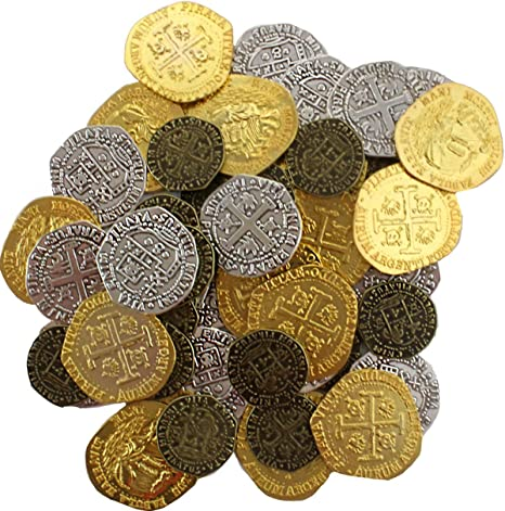 Pirate Coins Metal 48 Gold Silver Bronze Replica Doubloon Treasure Coin By  Well Pack Box