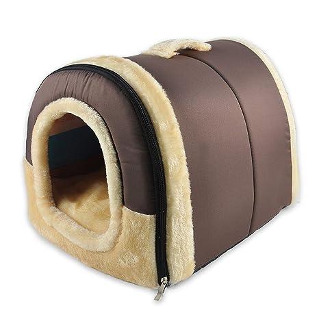 MX kingdom Casa para Mascotas, sofá 2 en 1, clásico, marrón, Lavable