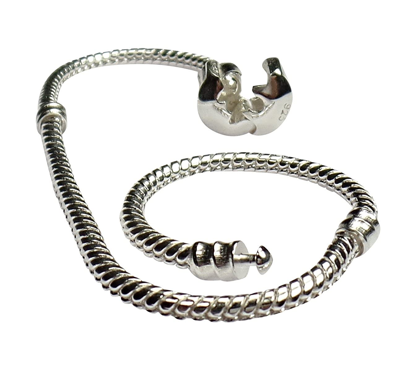 18cm Genuine Sterling Silver Snap Clasp Snake Charm Bracelet, Compatible with well known Beads, Charms, Clips and Stoppers. Beads R Us BRU2