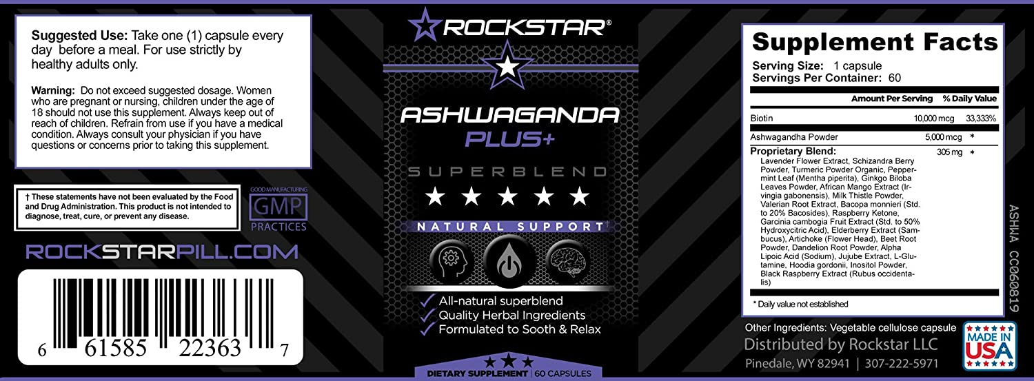 Rockstar Premium Ashwagandha Extract Formula- Natural Stress Support Mood Enhancer With Artichoke and Enhanced Benefits Energy, Focus, Digestion, Clease, and more
