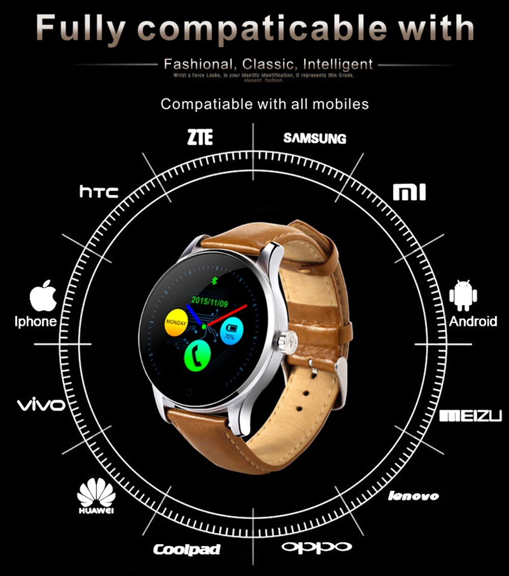 Amazon.com: K88H Smart Watch Heart Rate Monitoring Wristwatch Bluetooth APP Support for Pedometer Sleep Monitor iOS and Android Phone (Gold Leather): Cell ...