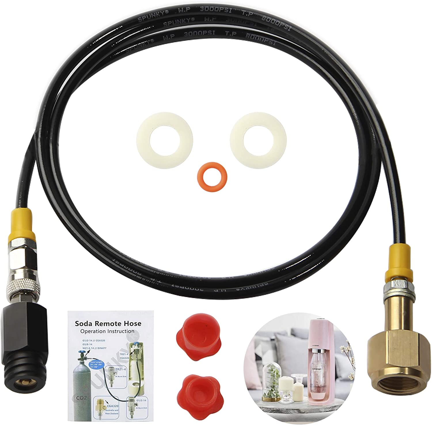 Upgrade Soda Stream CO2 Cartridges External Hose CGA320 Adapter Soda Maker direct Connector with 60 inches High-Pressure Hose Compatible with SodaStream