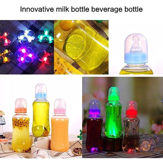 Botella luminosa creativa de 400 ml con tetinas, respetuosa con el medio ambiente, botella de zumo de plástico para verano, fiesta nocturna, botella de agua ...