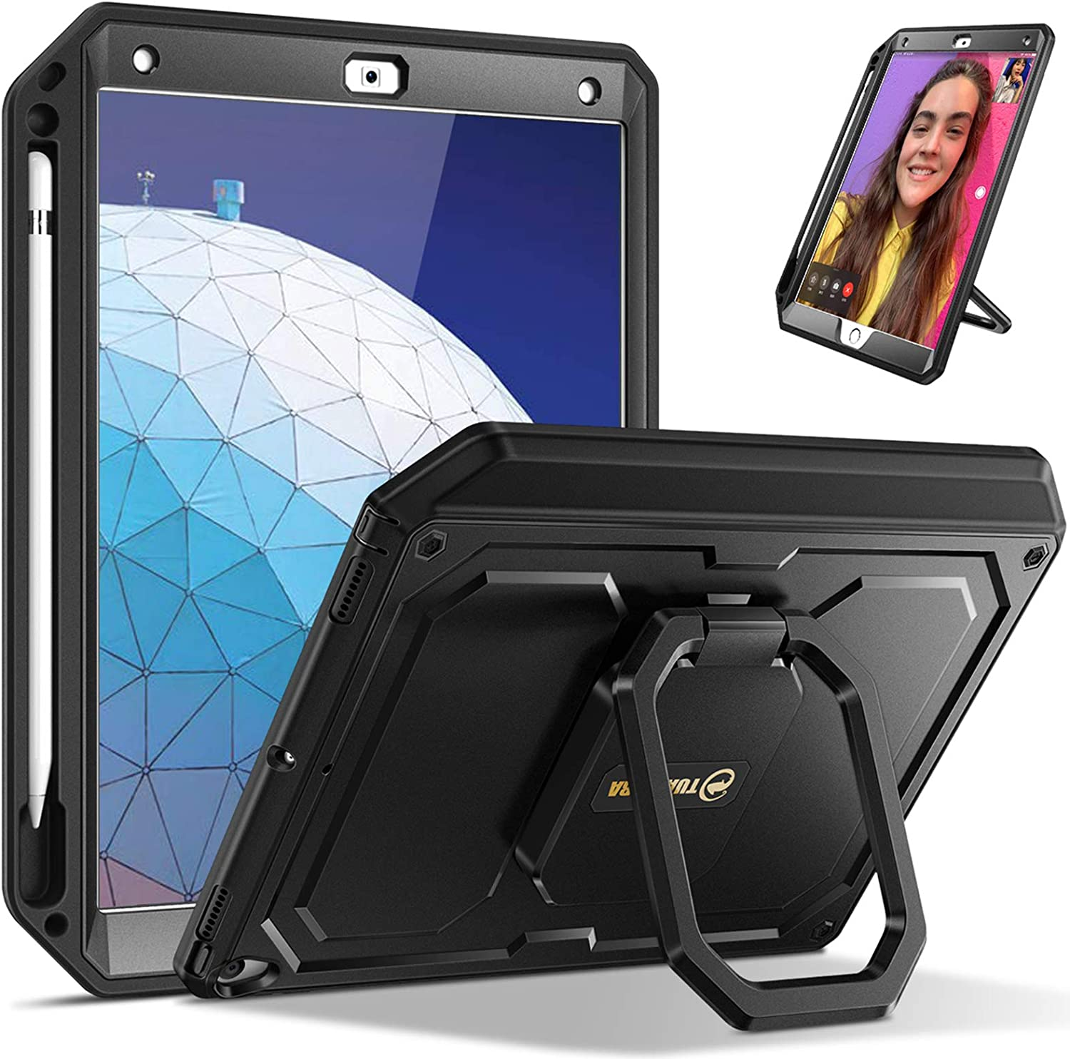 """Fintie Tuatara Magic Ring Case for iPad Air (3rd Gen) 10.5"""" 2019 / iPad Pro 10.5"""" 2017 - 360 Rotating Grip Stand Shockproof Rugged Cover with Built-in Screen Protector, Pencil Holder (Black)"""