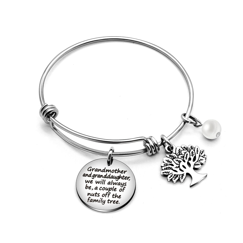 AGR8T Grandmother Granddaughter Bangle Bracelet Love Tree of Life Pearl Birthday Graduation Wedding Gifts