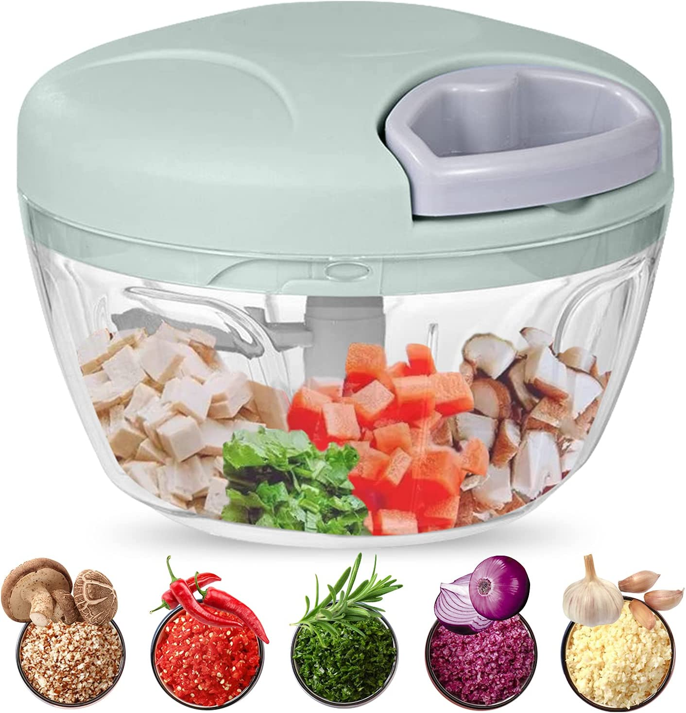 Food Chopper, 500ML Hand-Powered Portable Food Processor, Manual Vegetable Slicer and Dicer, Pull Chop Mechanism Cutter for Garlic, Onion, Vegetable, Salad, Pepper (Green)
