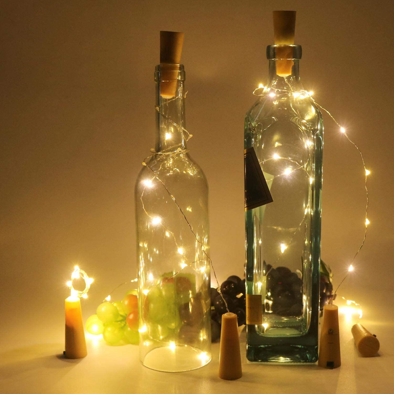 3M 30LED etc anniversaire mariage Geek Lot de 8 lumi/ères de bouteille avec bouchon en li/ège 3 m 30 LED guirlande lumineuse LED pour f/ête de No/ël fil de cuivre lumineux blanc chaud 3000 K