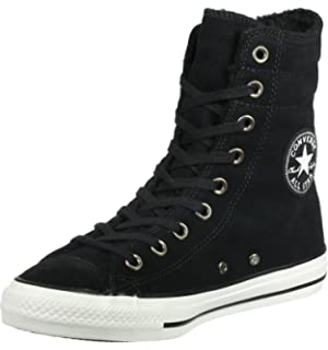 3389a1dbfb Converse Chuck Taylor All Star Hi Rise Black Egret Suede Sneakers 553420C Women  Boot Shoes