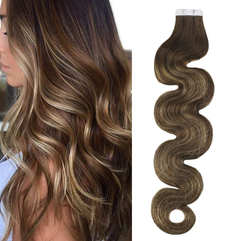 Moresoo Glue in Human Hair Extensions Brazilian Remy Hair Tape in Hair Body Wave 18inch 20PCS 50G Tape in Hair Extensions Human Hair Skin Weft Balayage Color #4 Brown Ombre to #27 Blonde Mixed #4 by Moresoo