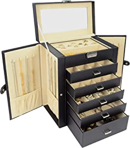 AKOZLIN 5 Layer Jewelry Box Organizer Functional Huge Lockable, Leather Jewelry Storage Case for Women Girls Ring Necklace Earring Bracelet Holder Organizer