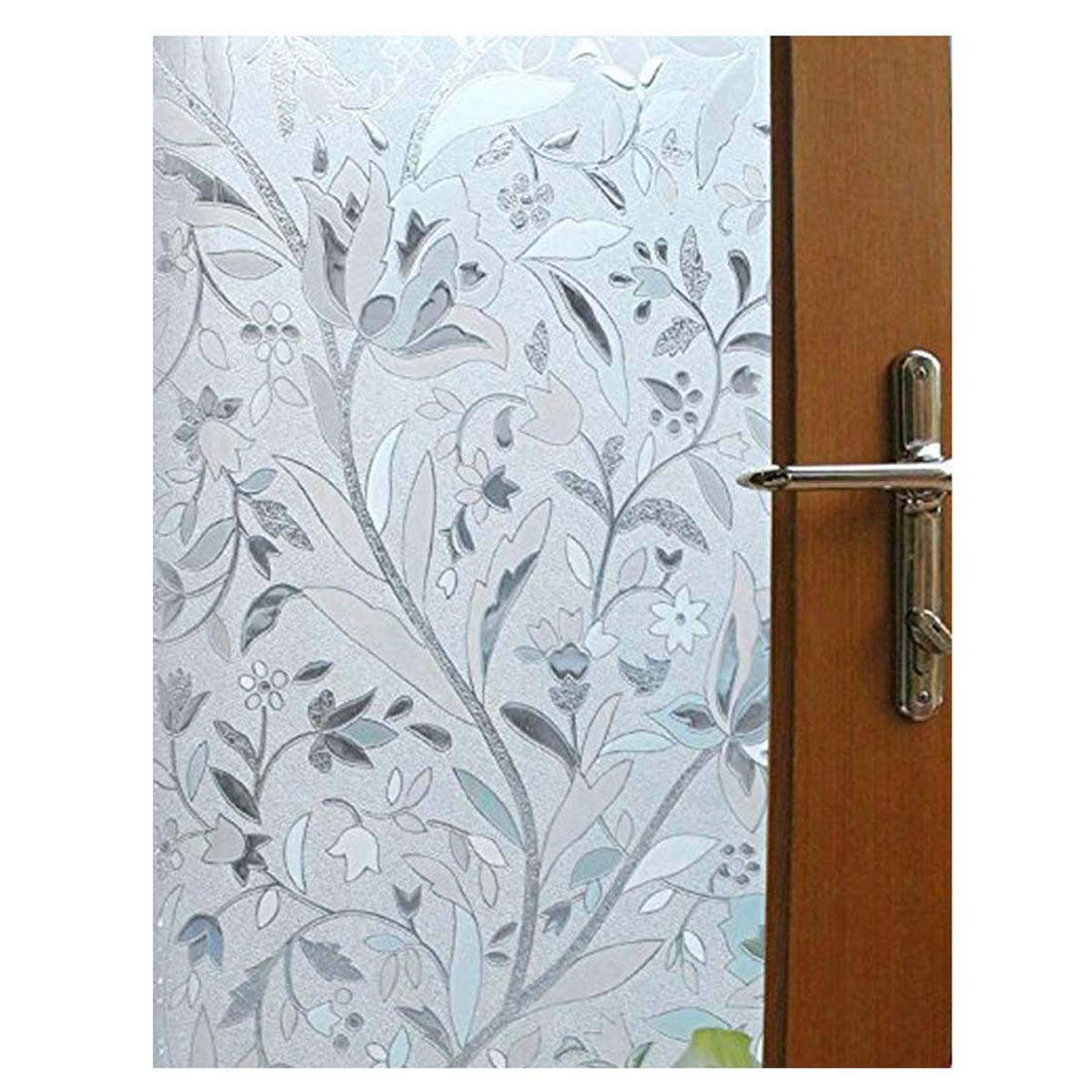 Becry Shower Non Adhesive Window Film Decorative Privacy Static Glass Film  Floral Frosted Heat Control Window Film Office Bathroom Removable No Glue