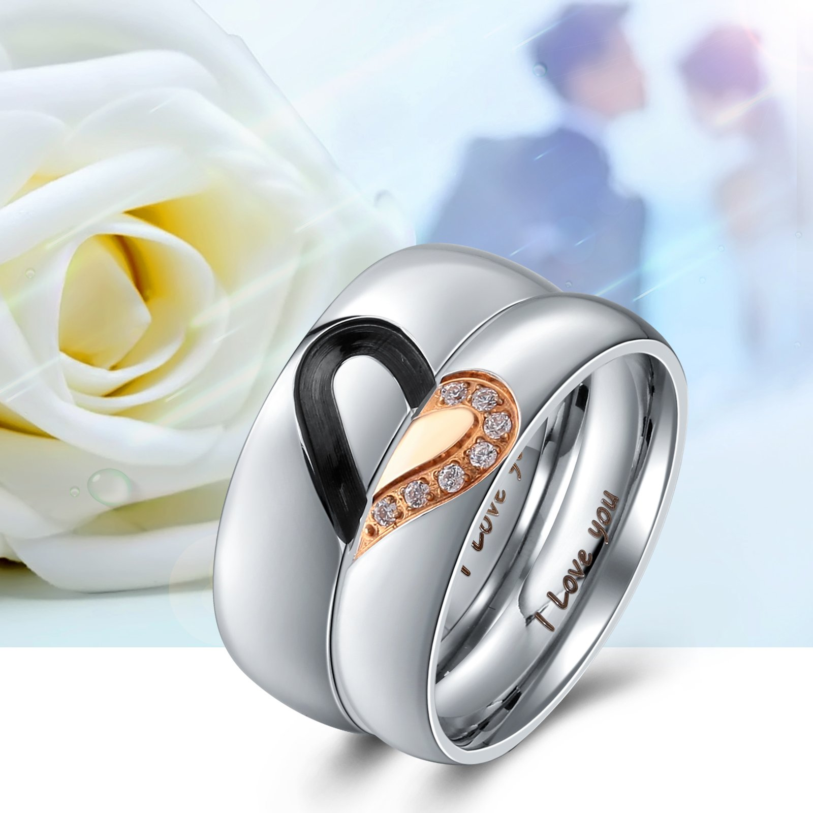 Aienid Rings Men and Women Couple Rings Heart I Love You Stainless Steel Wedding Bands for Womens Size 7 by Aienid (Image #4)
