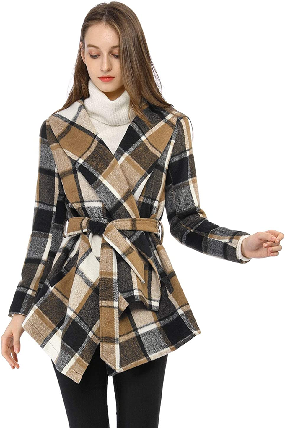 Allegra K Womens Turn Down Collar Asymmetric Hem Thin Plaids Wrap Coat
