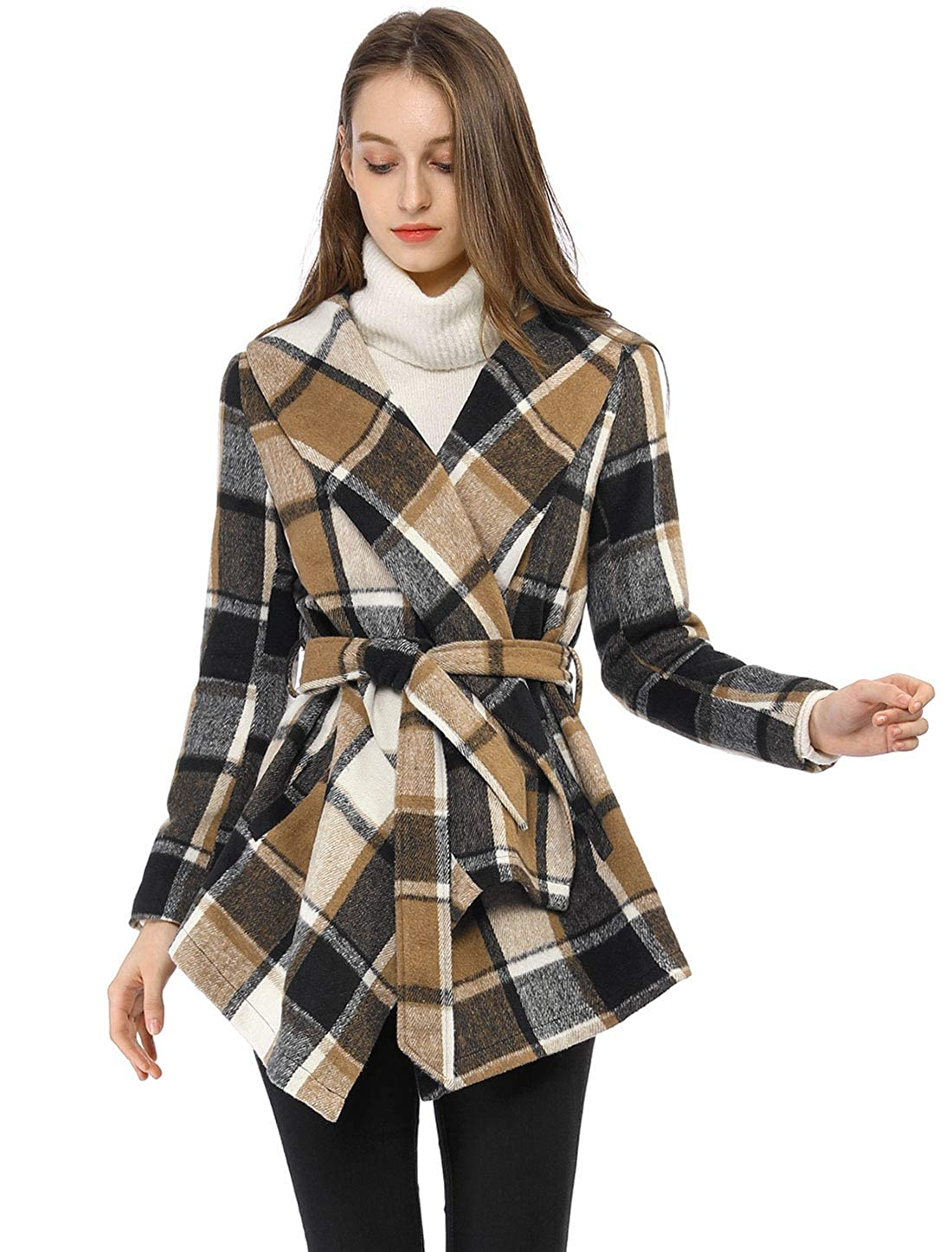 29c9ccbd091 Amazon.com  Allegra K Women s Turn Down Collar Asymmetric Hem Plaids Wrap  Coat  Clothing