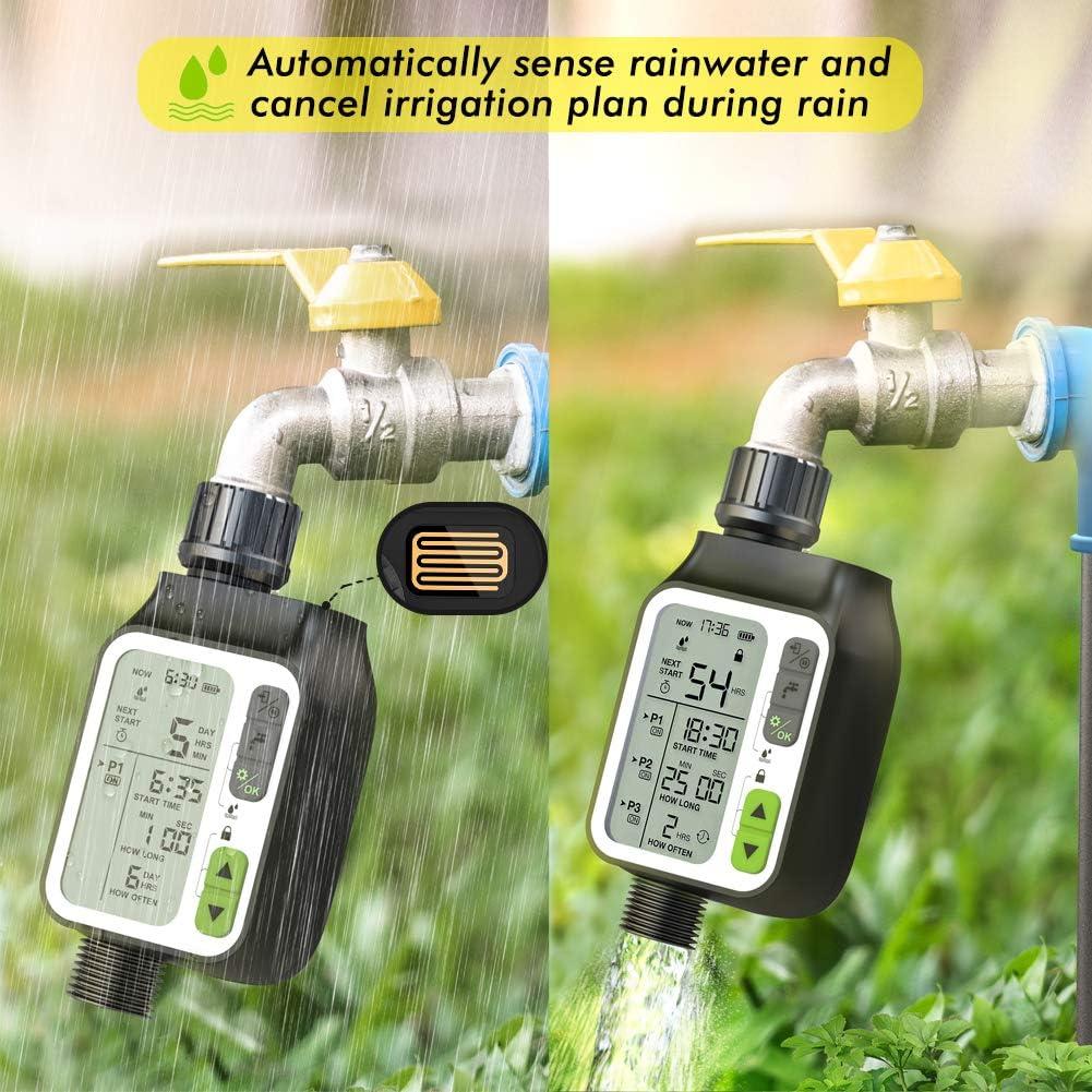 Kazeila Computer per Irrigazione,Timer per irrigazione con 3 sistemi di irrigazione Separati//Sensore Pioggia Automatico//modalit/à Blocco Bambini//3 LC-Display temporizzatore irrigazione