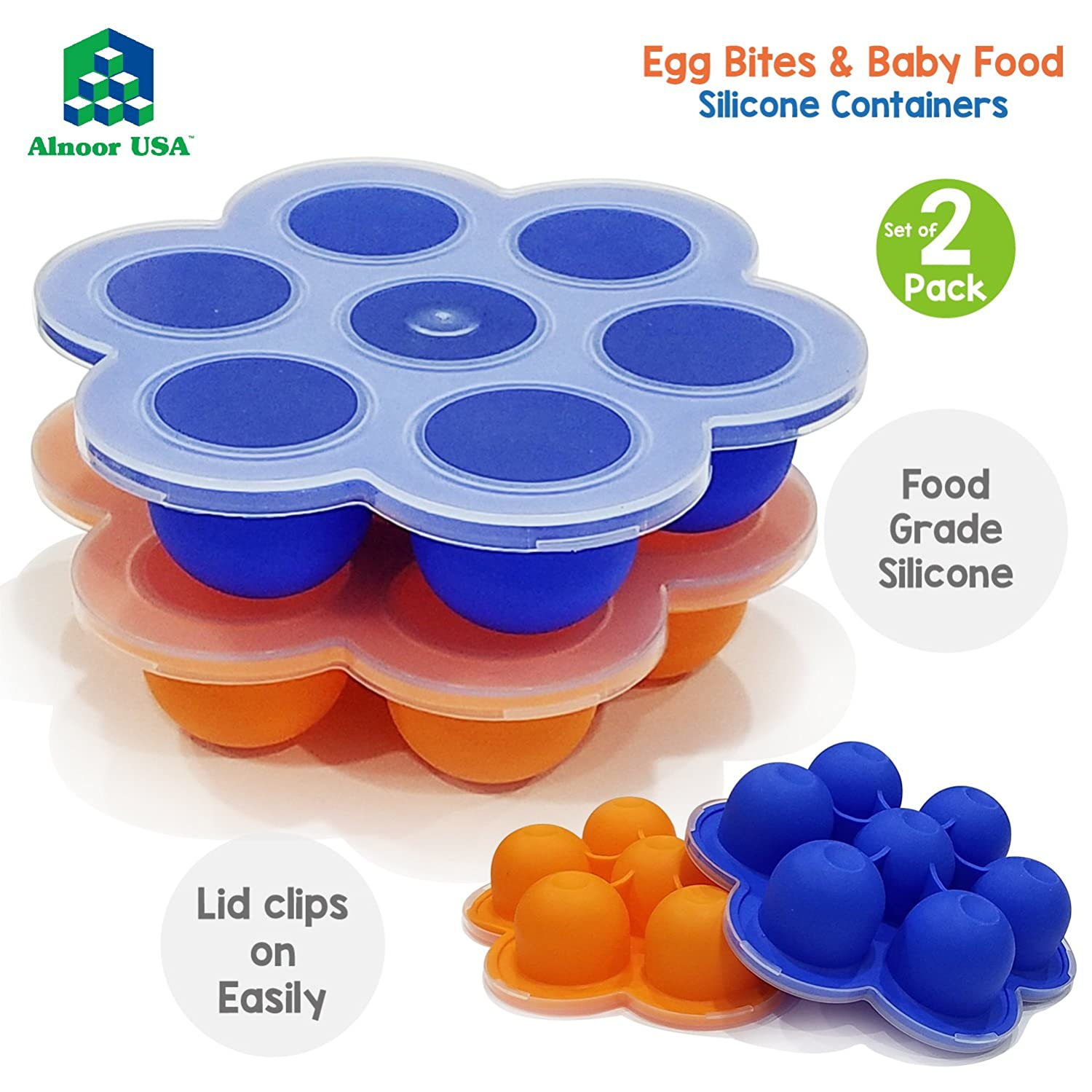 Silicone Egg Bites Molds Compatible with Instant Pot Accessories for 5,6,8 qt Pressure Cooker & Reusable Baby Food Storage Container – 7 Easy-Out Portions - Use as Freezer Tray & Egg Poacher BPA Free