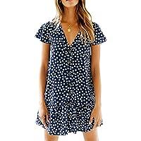 Halife Womens Short Sleeve Chiffon Polka Dot V Neck Button Down Ruffles Summer Loose Mini T-Shirt Dress